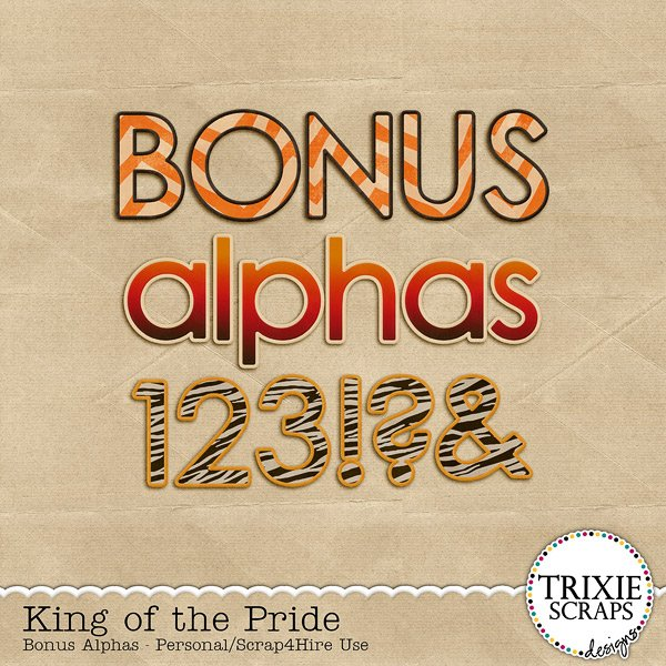 King of the Pride Digital Scrapbooking Bonus Alphas Disney