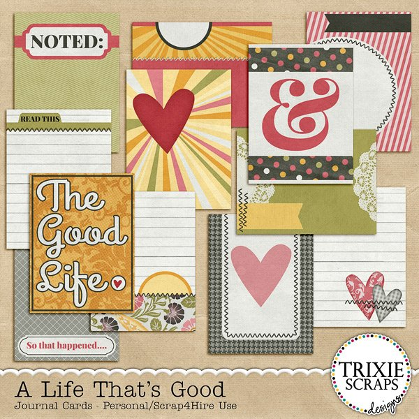 A Life That's Good Digital Scrapbooking Journal Cards