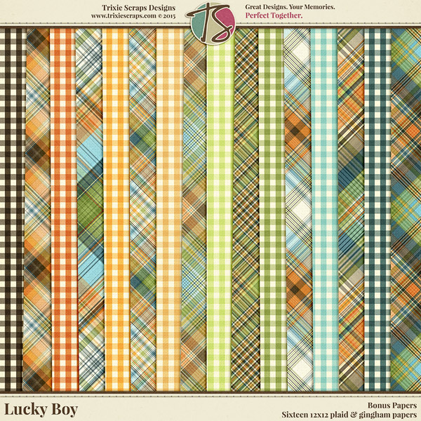 Lucky Boy Digital Scrapbooking Bonus Papers - Children Kids Boys