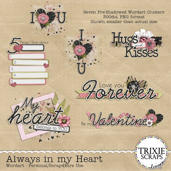 Always in my Heart Digital Scrapbooking Wordart