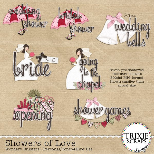 Showers of Love Digital Scrapbooking Wordart Clusters