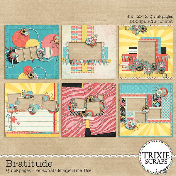 Bratitude Digital Scrapbook Quickpages
