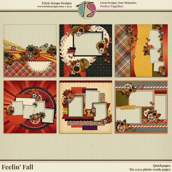 Feelin' Fall Digital Scrapbooking Quickpages