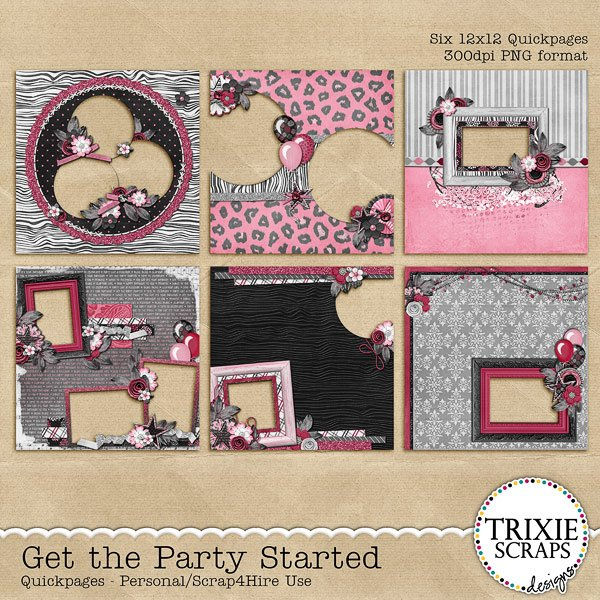 Get the Party Started Digital Scrapbooking Quickpages