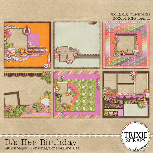 It's Her Birthday Digital Scrapbooking Quickpages