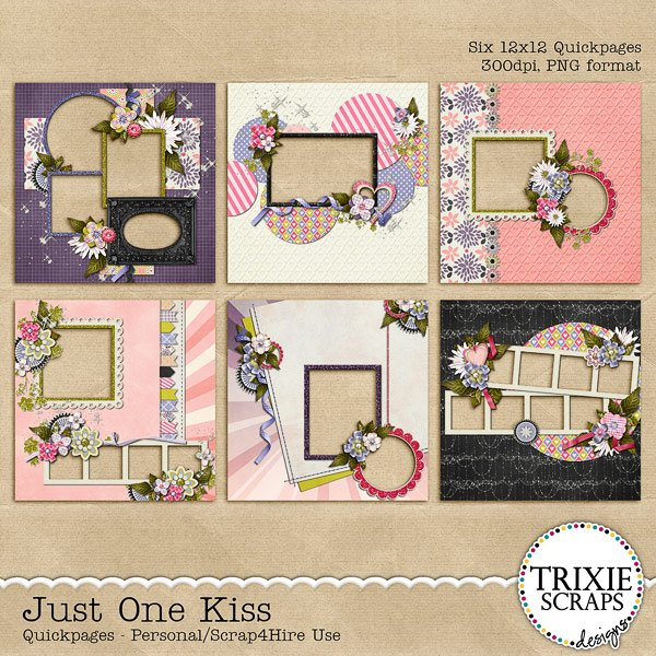 Just One Kiss Digital Scrapbooking Quickpages Disney