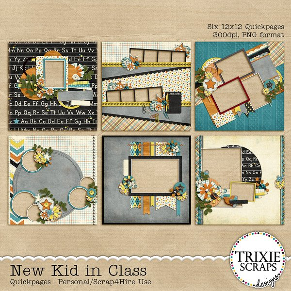 New Kid in Class Digital Scrapbooking Quickpages