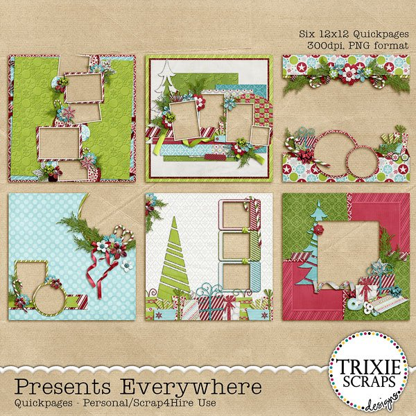 Presents Everywhere Digital Scrapbooking Quickpages