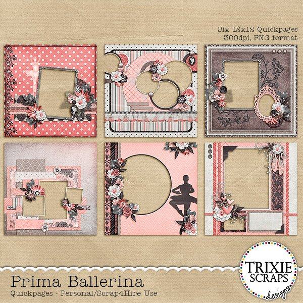 Prima Ballerina Digital Scrapbooking Quickpages