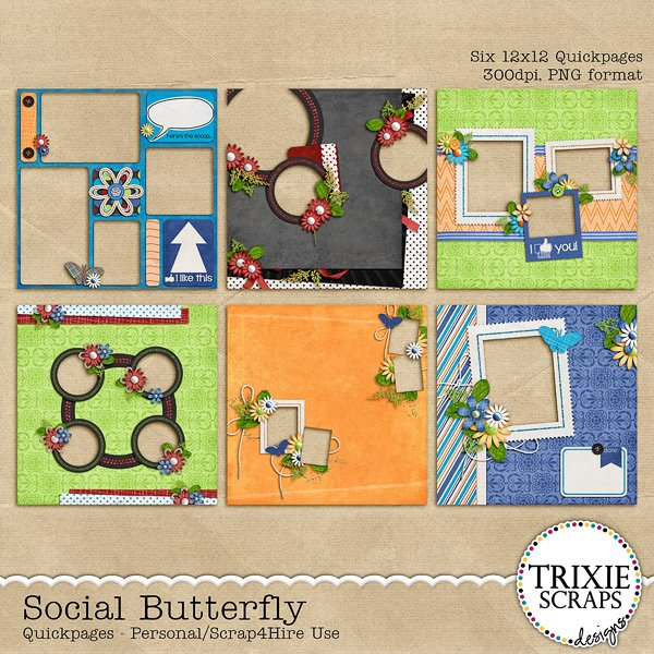 Social Butterfly Digital Scrapbooking Quickpages