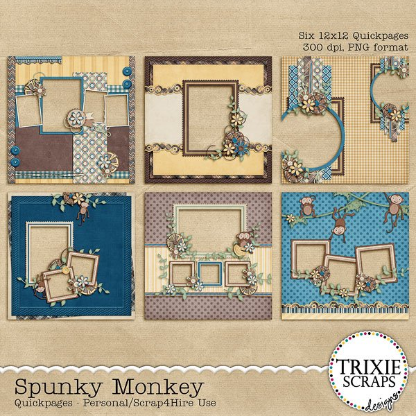 Spunky Monkey Digital Scrapbooking Quickpages
