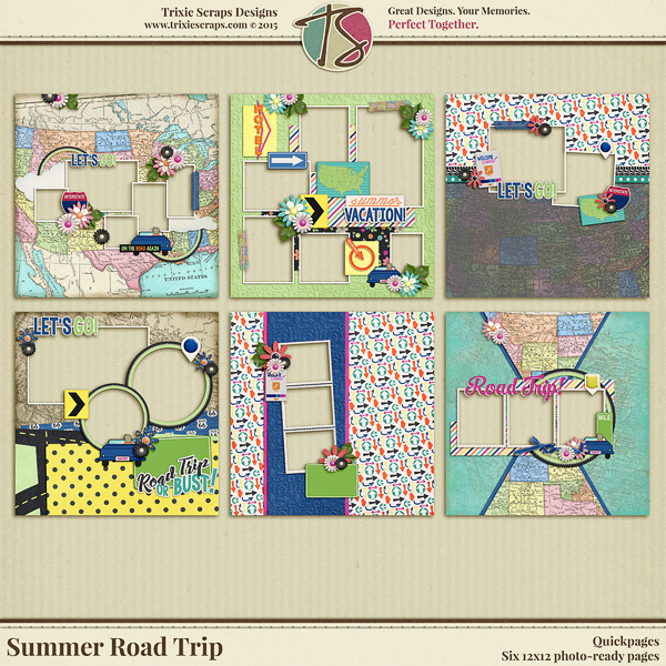 Summer Road Trip Digital Scrapbooking Quickpages