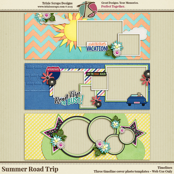 Summer Road Trip Digital Scrapbooking Timelines