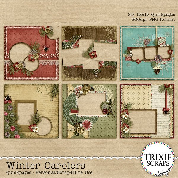 Winter Carolers Digital Scrapbooking Quickpages