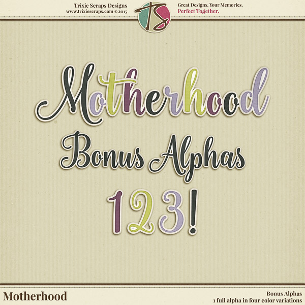 Motherhood Digital Scrapbooking Bonus Alphas