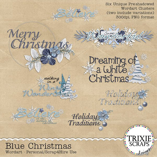 Blue Christmas Digital Scrapbooking Wordart