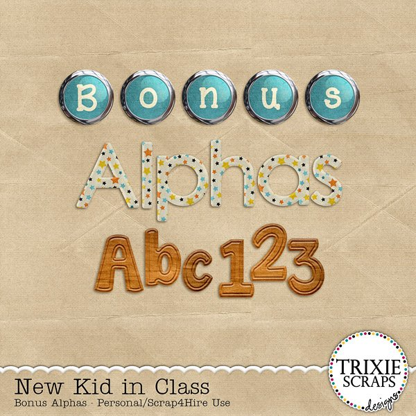 New Kid in Class Digital Scrapbooking Bonus Alphas