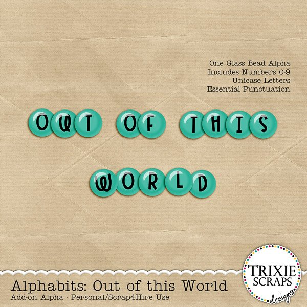 Out of This World Digital Scrapbooking Alphabits Add-On Alpha