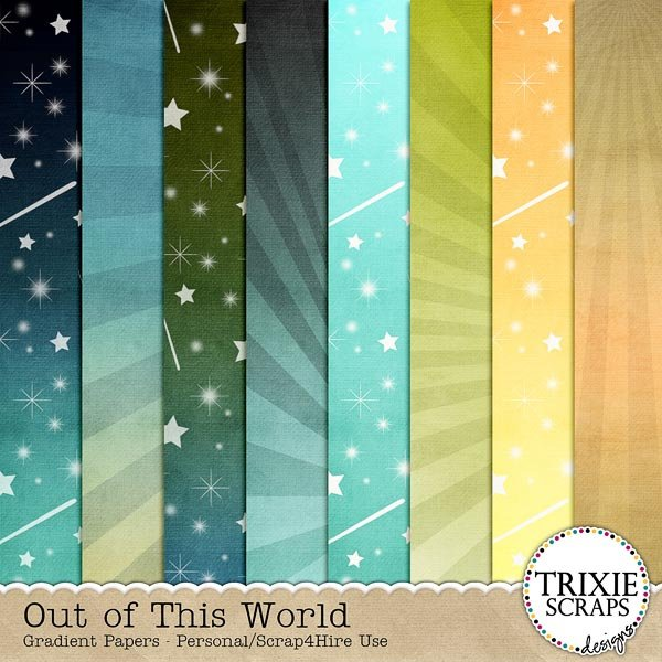 Out of This World Digital Scrapbooking Gradient Papers Disney