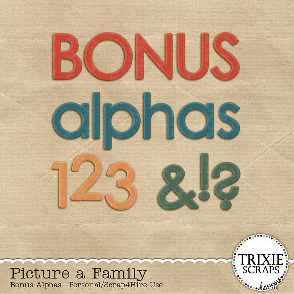 Picture a Family Digital Scrapbooking Bonus Alphas