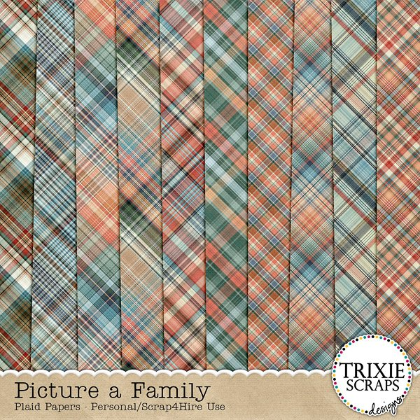 Picture a Family Digital Scrapbooking Plaid Papers