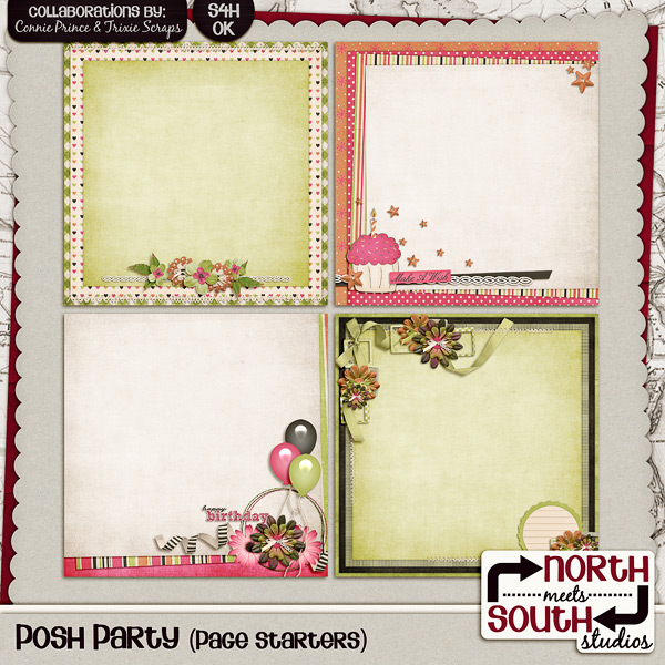Posh Party Digital Scrapbooking Page Starters