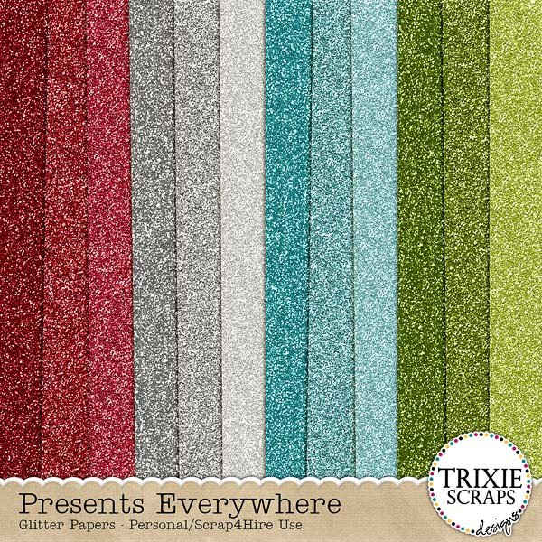 Presents Everywhere Digital Scrapbooking Glitter Papers