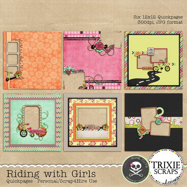 Riding with Girls Digital Scrapbooking Quickpages Kids Sports
