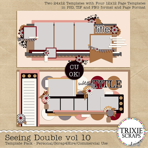 Seeing Double volume 10 Digital Scrapbooking Templates PSD/TIF/PAGE