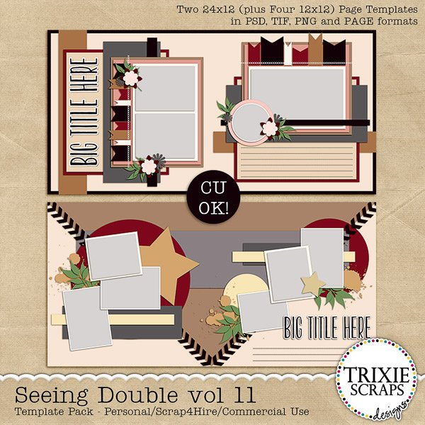Seeing Double volume 11 Digital Scrapbooking Templates PSD/TIF/PAGE