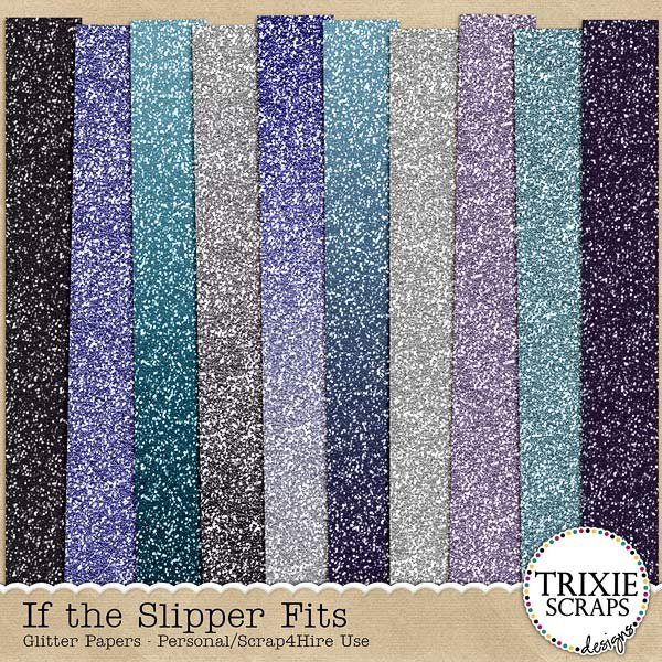 If the Slipper Fits Digital Scrapbooking Glitter Papers Disney
