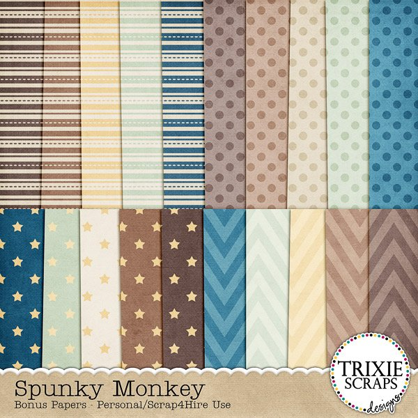 Spunky Monkey Digital Scrapbooking Bonus Papers