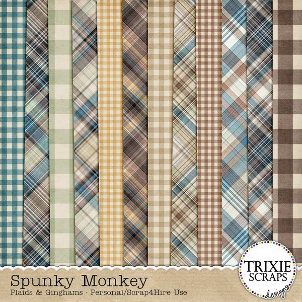 Spunky Monkey Digital Scrapbooking Plaid Papers