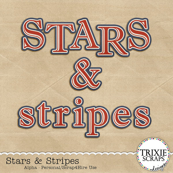 Stars & Stripes Digital Scrapbooking Alpha