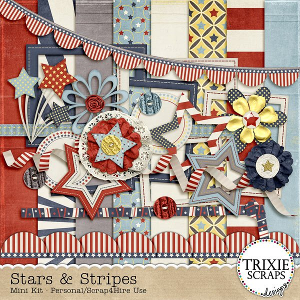 Stars & Stripes Digital Scrapbooking Mini Kit