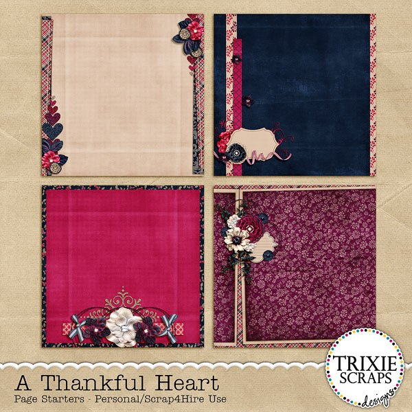 A Thankful Heart Digital Scrapbooking Page Starters