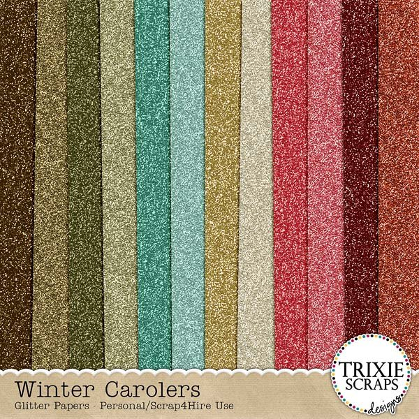 Winter Carolers Digital Scrapbooking Glitter Papers
