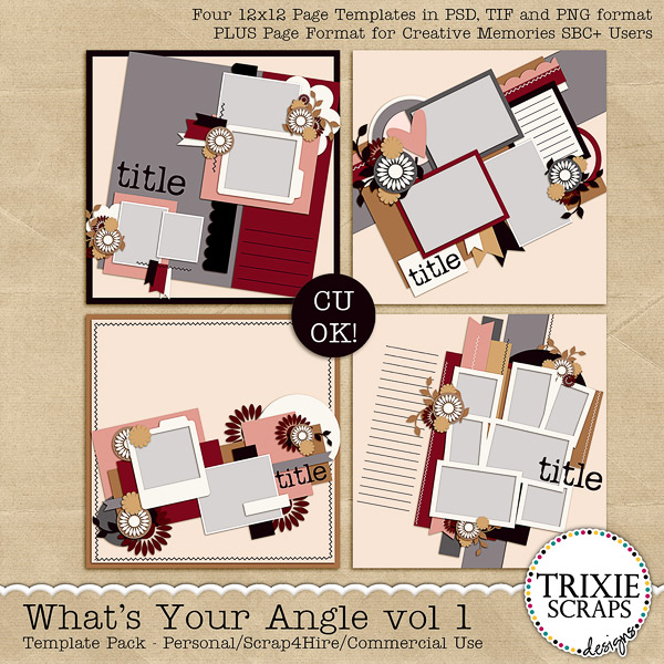 What's Your Angle vol 1 Digital Scrapbooking Templates PSD/TIF/PAGE