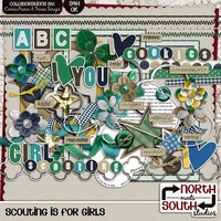 Scouting is for Girls Digital Scrapbooking Kit Girl Scout Brownies Cadettes Daisies