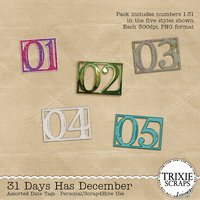 31 Days Has December Digital Scrapbooking Date Tags