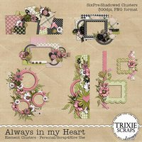 Always in my Heart Digital Scrapbooking Clusters