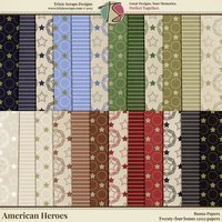 American Heroes Digital Scrapbooking Bonus Papers - Military Veteran Patriotic