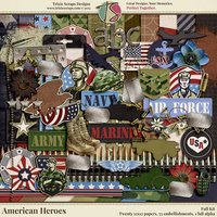 American Heroes Digital Scrapbooking Kit - Military Veteran Patriotic