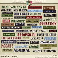 American Heroes Digital Scrapbooking Wordbits - Military Veteran Patriotic