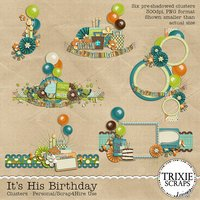 It's His Birthday Digital Scrapbooking Clusters