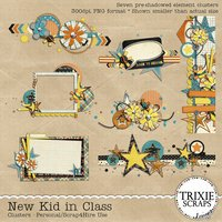 New Kid in Class Digital Scrapbooking Clusters