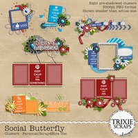 Social Butterfly Digital Scrapbooking Clusters