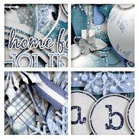 Blue Christmas Digital Scrapbooking Kit Holiday