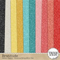 Bratitude Digital Scrapbook Glitter Papers