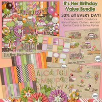 It's Her Birthday Digital Scrapbooking Value Bundle Cupcakes Cake Girls
